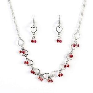 paparazzi Jewelry - Silver/Red Heart Necklace Earrings Bracelet Set